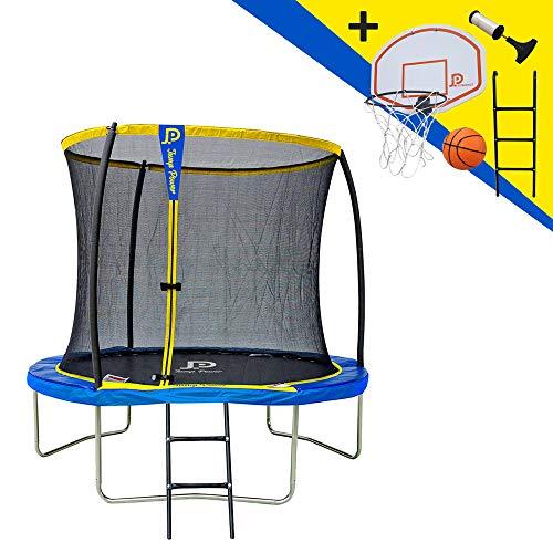 JUMP POWER Trampolin, Leiter und Basketballkorb, Durchmesser 244 cm, Erwachsene, Unisex, Gelb und Blau, Ø