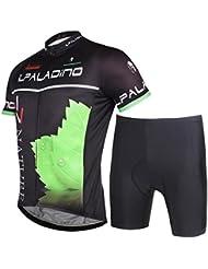 Maillot de cyclisme avec shorts 100% polyester résistant à l'air respirant Ultraviolet Hommes Bike Tops Short Sleeve Tight Pants Set for Summer Spring Autumn Black
