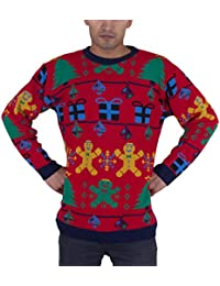 Mens Unisex Christmas Gingerbread man Reindeer Novelty Knitted Xmas Jumper (Mens S Ladies (10-12), Gingerbread RED)