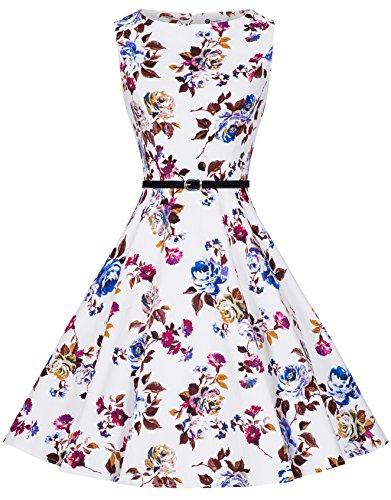 Zarlena Damen Vintage Rockabilly Audrey Hepburn Kleid Petticoat M weiß/weinrotes Floralmuster DRAH-RED-M