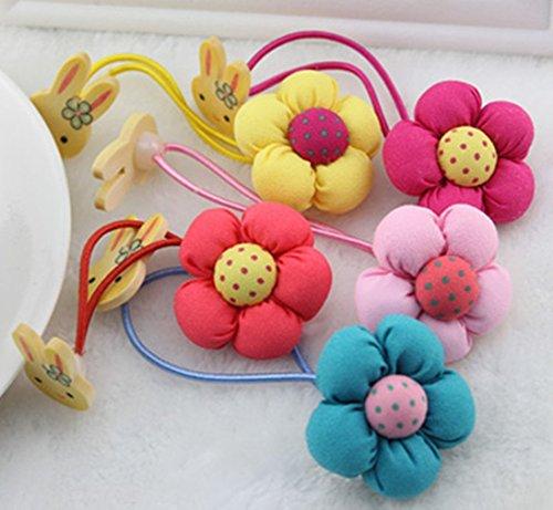 cuhair (TM) 5 pièces bébé fille avec tête de lapin fleur cheveux Chouchou en métal avec élastique bande de cheveux queue de cheval cravate Accessoires