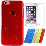 Semoss 2 en 1 3D Fusion Helado TPU Funda Para Apple iPhone 6 Plus (5.5) Silicona Cover Piel con Protector Pantalla-Roja