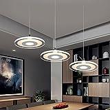 3-Head 36W LED Ultra sottile Luce pendente lampadari,Moderno Elegante minimalismo Cucina Isola Sala da pranzo Bar Studia Soggiorno Lampada a sospensione,Il giro Acrilico Shades,L66CM,3500K Warmwhite