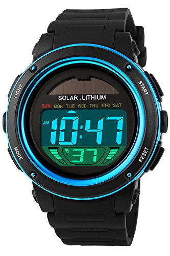 findtime Solaruhr Herrenuhr Sportuhr 5ATM Wasserdicht Outdoor Armbanduhr Analog Digital Sonnenenergie Militär LED