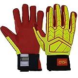 Hi-Vis impatto guanti da lavoro, guanti di sicurezza resistente all' olio e gas, CUT5& Firm grip Heavy Duty meccanica guanto con protezione TPR