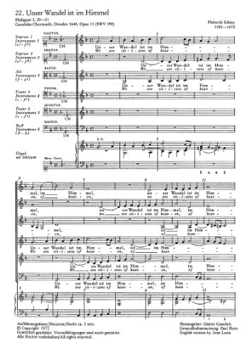 Schütz: Unser Wandel ist im Himmel (SWV 390 (op. 11 no. 22)). Partitur (20 St.)