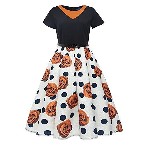 KPILP Frauen A-Linie Retro Print Bodycon Kurzarm Rockabilly Kleid Abend Party Ball Swing Petticoat Minikleid(Gelb,EU-42/CN-2XL