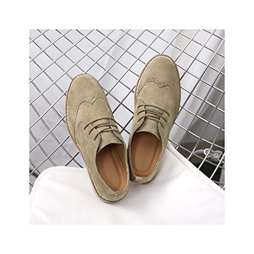 J-crew-khaki (Spring New Brand Men's Shoes Casual Business Dress Brogue Shoes for Wedding Party Retro Leather Shoes Khaki 9.5)