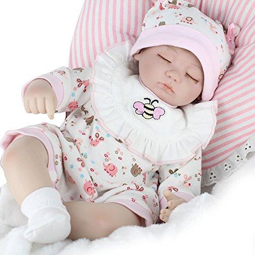 e, Vinmax 17 Inch Reborn Baby Puppe Weich Silikon Babypuppe Mädchen Neugeborene lebensechte Vinyl Lebendige Reborn Babypuppe mit Kleidern (Importierte Kleider)