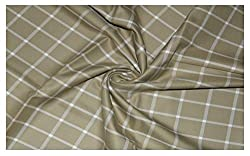 V Walkers Mens Cotton Poly Blend Checkered Unstitched Trouser Fabric (1.30 MTR_Cream Color) VST190
