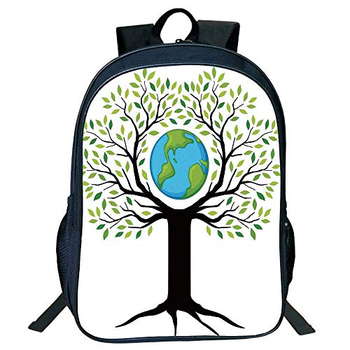 HOJJP Schultasche Suitable for Primary School Backpack,Tree of Life,Eco Friendly Earth Tree Saving The Planet Life Climate Symbolic Graphic Home,Green Black Blue,for Kids.