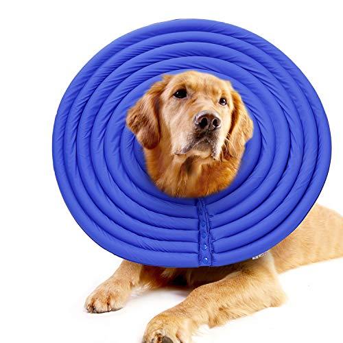 ubest Bequeme Halskrausen Hund Katze, Weiche Schutzkragen für Hunde Katze, Blau, XXL