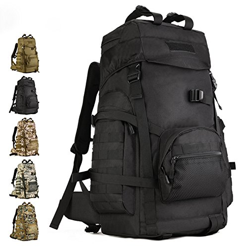 VERTTEE 60L Camping Outdoor Rucksack Trekkingrucks?cke Wanderrucks?cke Freizeitrucksack Tasche Bag Radfahren Reiten Reisetaschen Camouflage Tarnung Schwarz