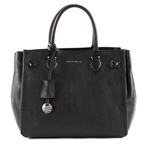 Coccinelle sac à main porté main cuir nero malva