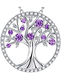 GinoMay Valentines Day Gifts ❤️ The Tree of Life❤️ Sterling Silver Necklace Feburary Birthstone LC Amethyst Jewellery Birthday Anniversary Gift For Women,Elegant Gift Box,Allergen-free,45+5cm Extender