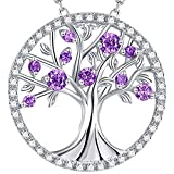 GinoMay Unisex Herren Damen - 925 Sterlingsilber Sterling-Silber 925 Brilliant Rund Purple Amethyst