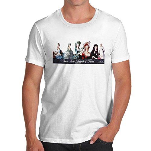 TWISTED ENVY Men Historical Educational Theme Marie Antoinette Print T-Shirt  White Small