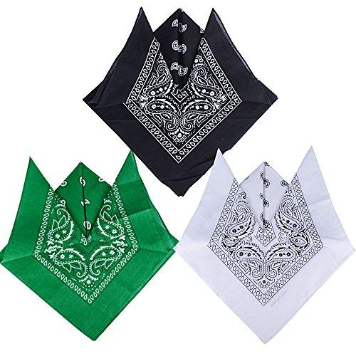 QUMAO Pack de 3(100% Algodón) Pañuelos Bandanas de Modelo de Paisleypara Cuello/Cabeza Multicolor Múltiple para Mujer y Hombre (Pack de 3; Negro&blanco&verde)