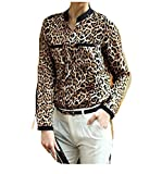Manches longues Blouse, Femme Imprimé léopard Tops manches longues Chemise en mousseline de soie Slim blouses occasionnelles (Jaune, XL)