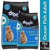 Drools Adult Dry Cat Food, Ocean Fish, 3 kg + 1.2 kg