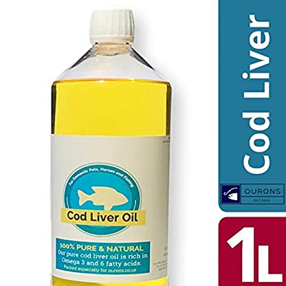 1 Litre Cod Liver Oil Liquid - Feed Grade Fish Oil for Pets and Fishing Bait - 1