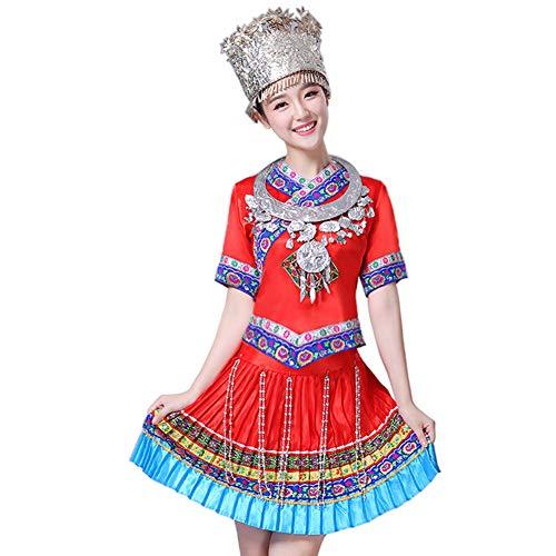 Yudesun Damen Tanzsport Bekleidung - Chinesischer Nationaltanz Kostüm Miao Minority Performance Bestickt Klassik Kleid Komfort