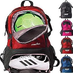 Athletico National - Mochila para fútbol, Baloncesto y fútbol (Incluye Soporte para balones y Tacos Separados), Rojo