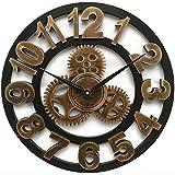 Mrzy Neue Große Wanduhr Vintage Gear Clock Amerikanischen Stil Wohnzimmer 3D Wanduhr Modernes Design Dekoration Für Zuhause Holz Uhren, D