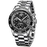 LIGE orologio da uomo acciaio inossidabile impermeabile sportivo cronografo tempo libero moda affari quarzo orologio ?quadrante nero grande?