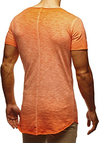 LEIF NELSON Herren verwaschene T-Shirts Rundhals Shirts Basic LN6353 Verw. Orange