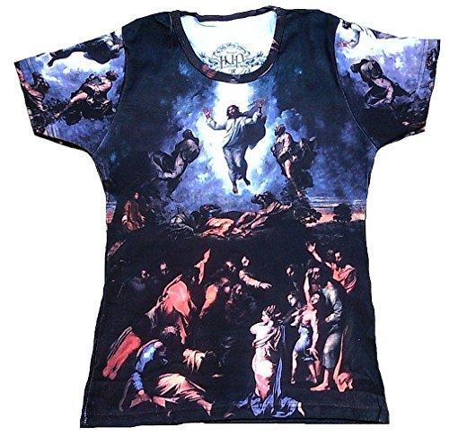 (In Nomine Patre Damen T-Shirt Blau Raffael Verklärung des Herrn Jesus mit Propheten Mose Elija Petrus Jakobus Johannes XL 44)
