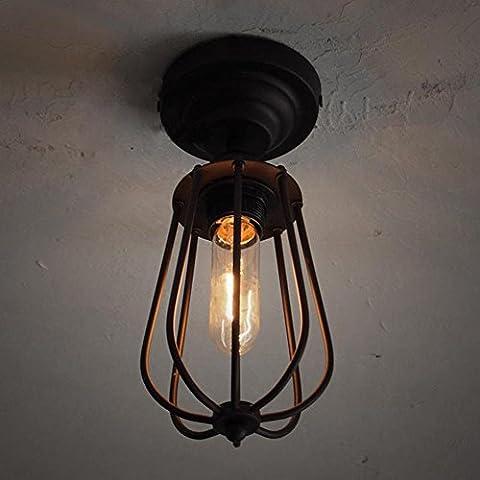 Industrielle Vogel-Käfig-Art-Deckenleuchte, SONNE RUN Kreative Retro helle Befestigungs-Kronleuchter Weinlese-Metall-hängende Lampe mit gemaltes Ende für Esszimmer-Küche
