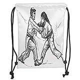 Drawstring Backpacks Bags,Asian,Karate Eastern Martial Arts Fighting Men Combat Traditional Hand Drawn Print,Light Grey White Soft Satin,5 Liter Capacity,Adjustable String Closure,