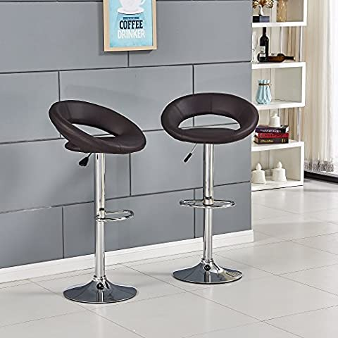 Willstone Set of 2 Modern Bar Stools Hollow Back Design Dining Chair for Kitchen Adjustable Faux Leather Bar Chairs with Chrome Footrest and Base (Brown)