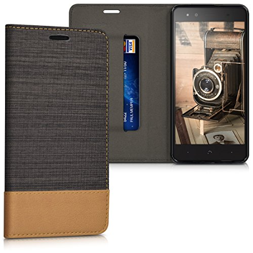 kwmobile bq Aquaris X5 Plus Hülle - Stoff Handy Cover Case mit Ständer - Schutzhülle für bq Aquaris X5 Plus