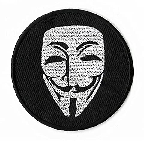 Anonymous Maske Patch 9 cm Embroidered Iron on Badge Kostüm Aufnäher Cosplay (Anonymous Hacker Kostüm)