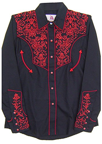 Modestone Women's Embroidered Fitted Western Hemd Floral Black S - Panhandle Slim Rock