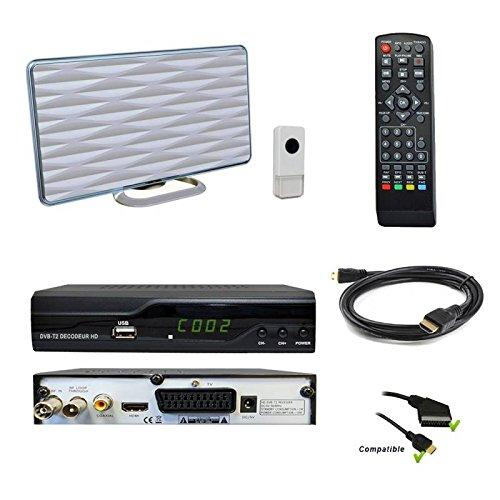 Kit TNT HD Décodeur terrestre TNT DVB-T2 H.265 Nouvelle norme - USB / HDMI / Péritel + Mini antenne HDTV HD-935T (fonction sonnette)