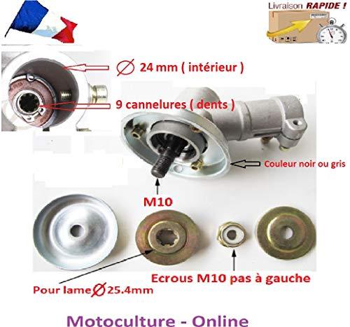 Motoculture-Online Renvoi d'angle Complet pour Tube 24 mm et axe Rond de 9 cannelures pour débroussailleuse ou Machine Multi-Fonctions 5 en 1 (tête Support Lame ou rotofil)