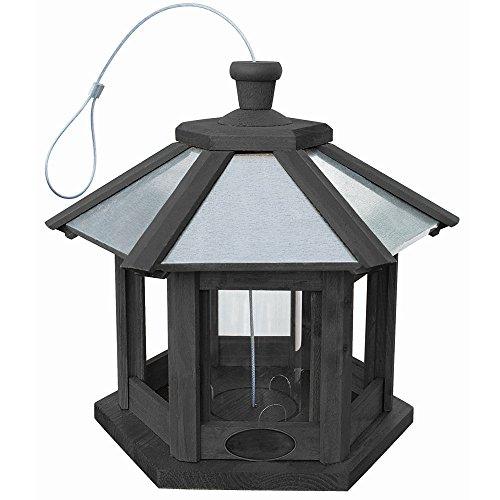 Vogelhaus zum Aufhängen Futterhaus in Anthrazit mit verzinktem Metalldach, gebeiztes Kiefernholz inkl. Futterbehälter aus Kunststoff