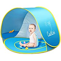 Ceekii Outdoor Automatic Pop Up Baby Beach Tent Infant Portable Cabana Shade Paddling Pool UV Protection Sun Shelter Blue for Family Garden Camping Picnic Fishing Times