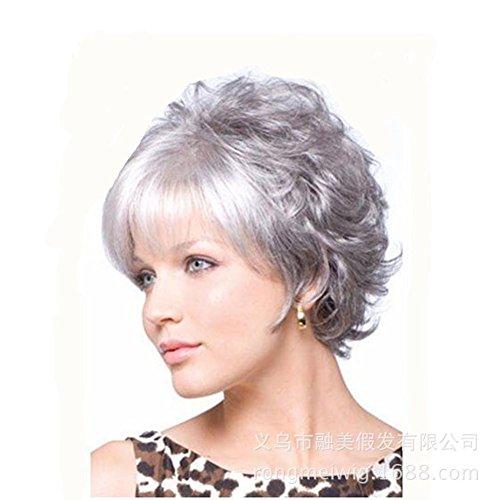 bliche flauschige Curly Mode Frisuren Silber kurze lockige volle Perücken (Teufel Halloween Frisuren)