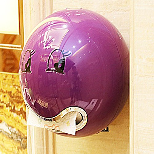 KINGKO Ball Shaped Nette Bad Wc Wasserdichte Toilettenpapier Box Rollenpapier Halter (Lila)