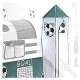 IDIMEX Turm Goal mit Fussball Motiv zu Bett mit Rutsche, Spielbett, Rutschbett, Kinderbett in weiß/grün