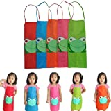 New Cute Kids Children Waterproof Apron Cartoon Frog Printed Painting Cooking (Green)