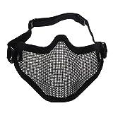 SODIAL(R)mascherina protettiva tattica in metallo maglia nero per gioco di guerra