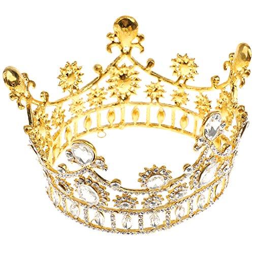 Diadema Corona Tiara de Nupcial Boda Partido de Baile Perlas Diamante de Imitación - 3