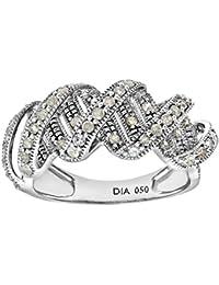 Naava Women's 9 ct White Gold Round Brilliant Cut 0.50 ct Diamond Fancy Twist Ring