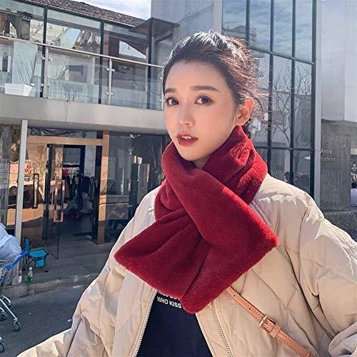 Imitation Kaninchen-Pelz-Schal, Frau Winter, Faux-Pelz-Schal, Plüsch starker warmer Schal -Geschenke für Damen (Color : Wine red, Size : 100 * 12cm) -