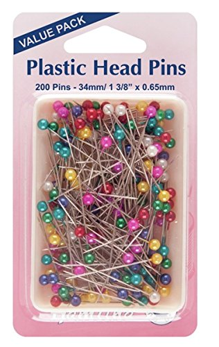 Hemline-H66820-Multi-Coloured-NickelPlastic-Head-Pins-34mm-200pk-In-Box